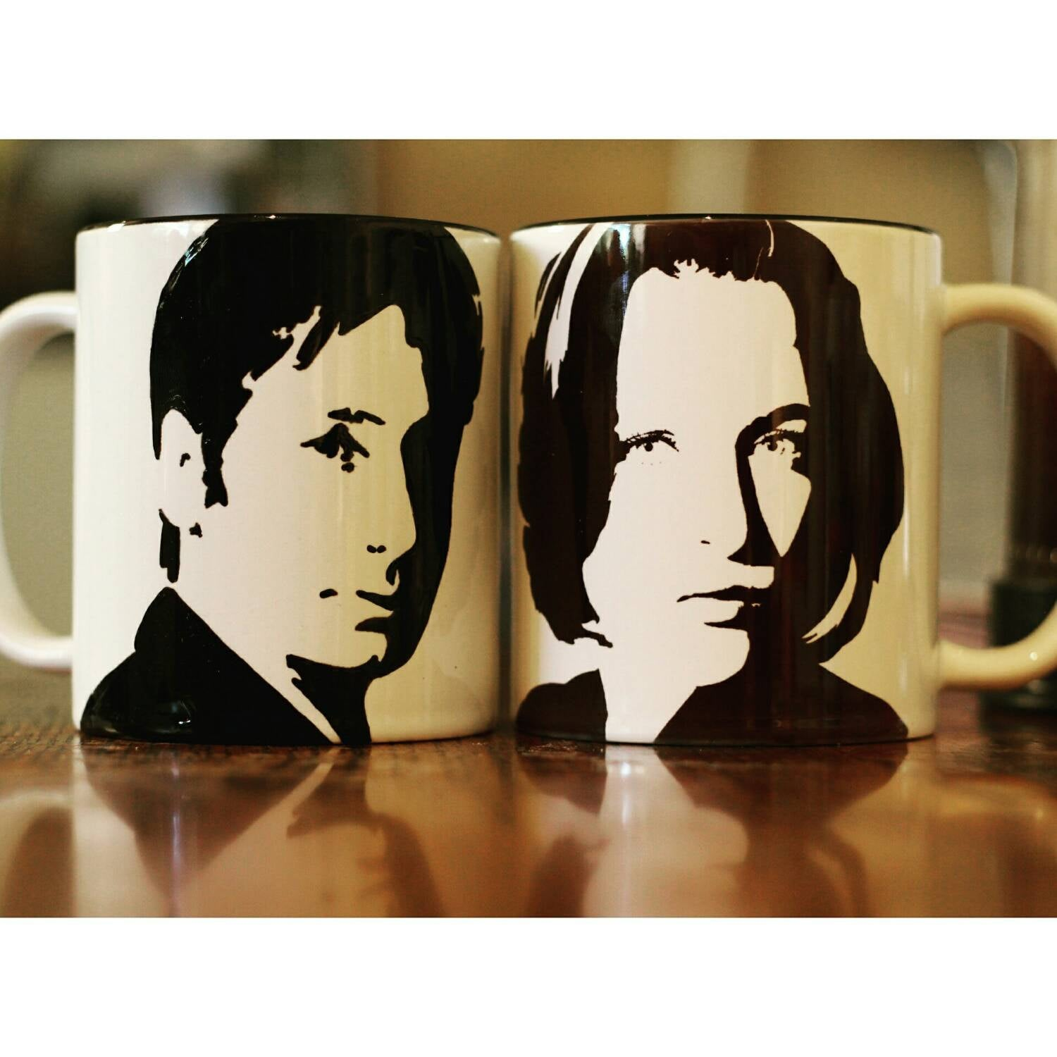 Mulder and Scully, David Duchovny, Gillian Anderson, X Files, Californication, Hannibal,  cup set - ByCandlelight27