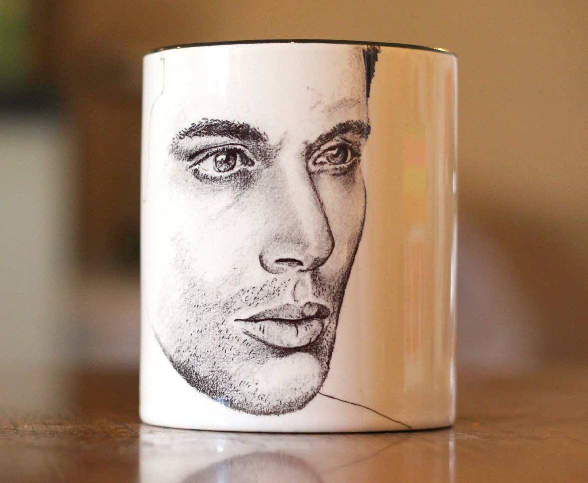 Jensen Ackles - Supernatural - My Bloody Valentine -Ten Inch Hero - Dean Winchester - Hand Printed Cup - ByCandlelight27