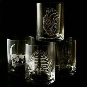 Bitch Jerk - Supernatural - Hand Drawn - Etched Glass set of 2 - Champagne Flutes