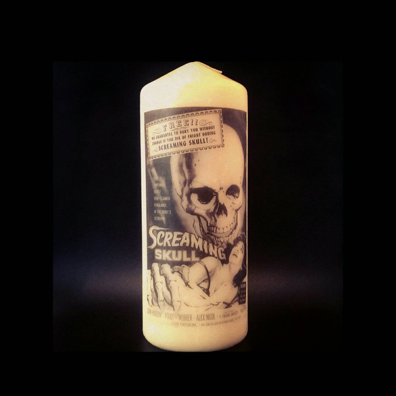Screaming Skull Film Poster - Pillar Candle - Anatomical Decor - ByCandlelight27