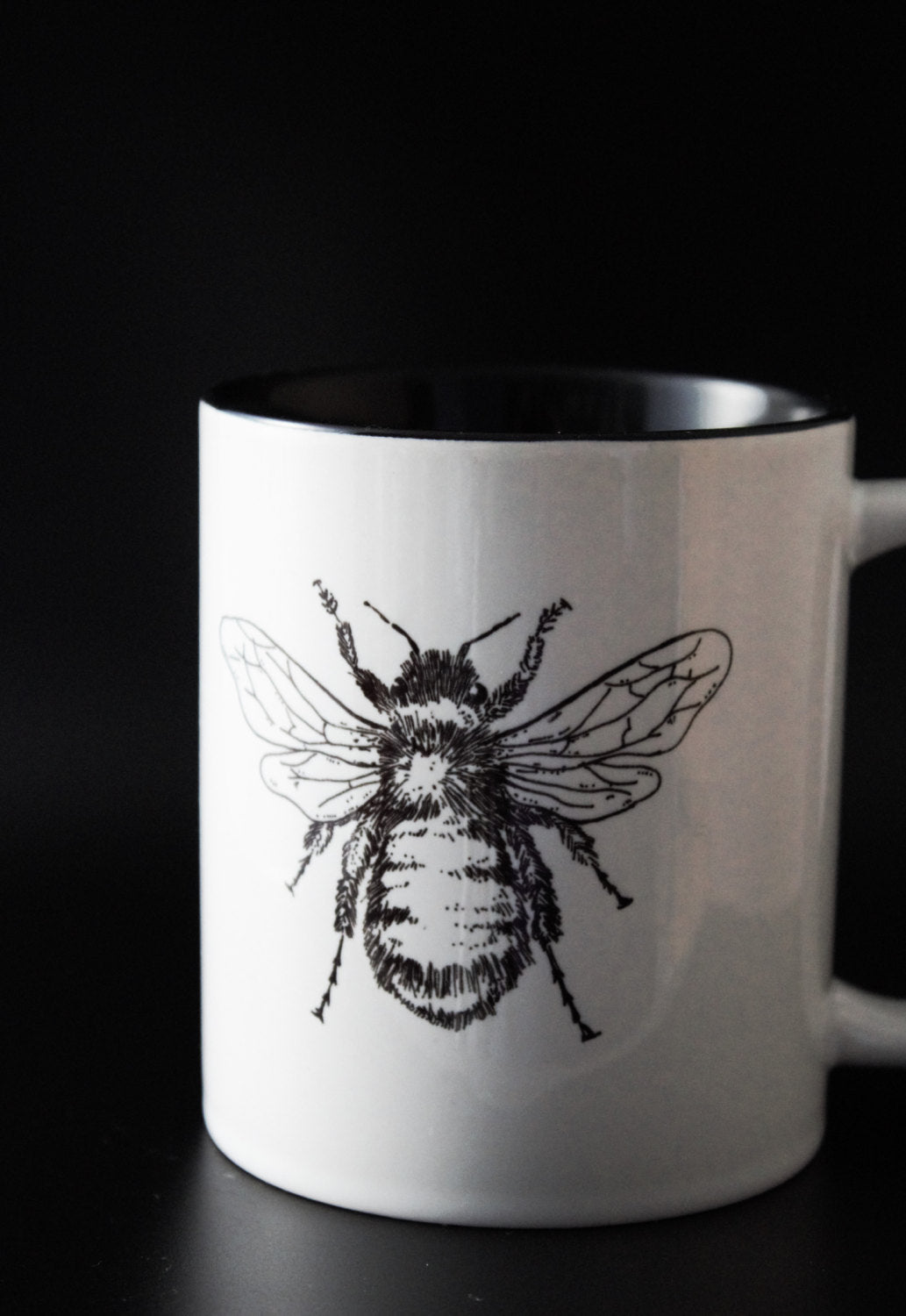 Botanical Bumble Bee - Hand Drawn -Hand Printed Cup - ByCandlelight27