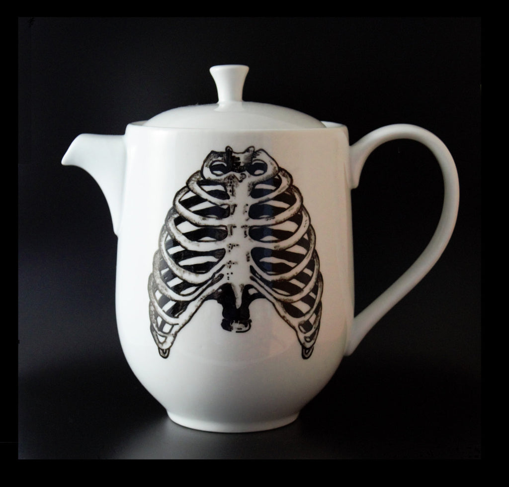 Hand Painted Tea Pot - Anatomical Ribcage - Goth Decor - ByCandlelight27