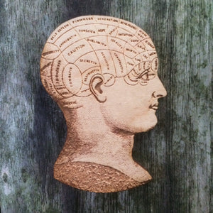 Phrenology Head - Anatomical Jewellery - Wooden Brooch - ByCandlelight27