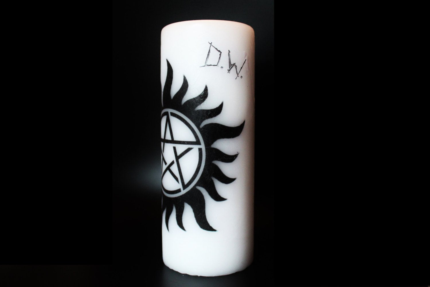 Anti Possession sign - Supernatural - Pillar Candle - Goth Decor Decor - ByCandlelight27
