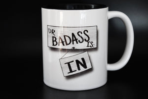 Harvelle's Roadhouse, Dr Badass Is In, Supernatural Inspired, spn, quote, Hand Printed Cup - ByCandlelight27