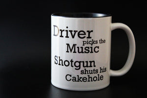 Driver Picks the music shotgun shuts his cake hole, supenatural, Supernatural Inspired, spn, quote, Cup - ByCandlelight27