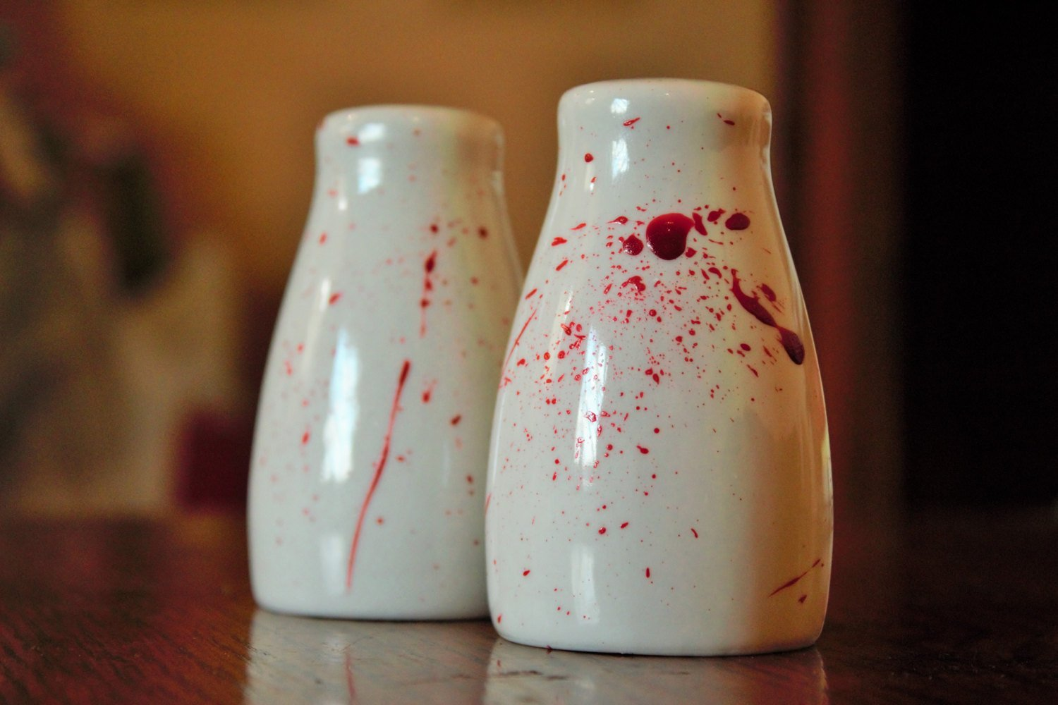 Blood Splatter Salt and Pepper Shaker Set - ByCandlelight27