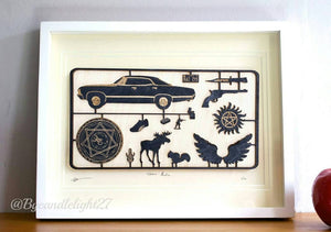 The Walking Dead - Woodcut - fix kit Design - Mounted Art