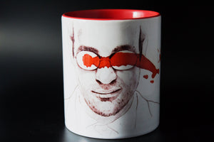 Charlie Cox - Daredevil - Hand drawn Illustration - Printed Cup - ByCandlelight27