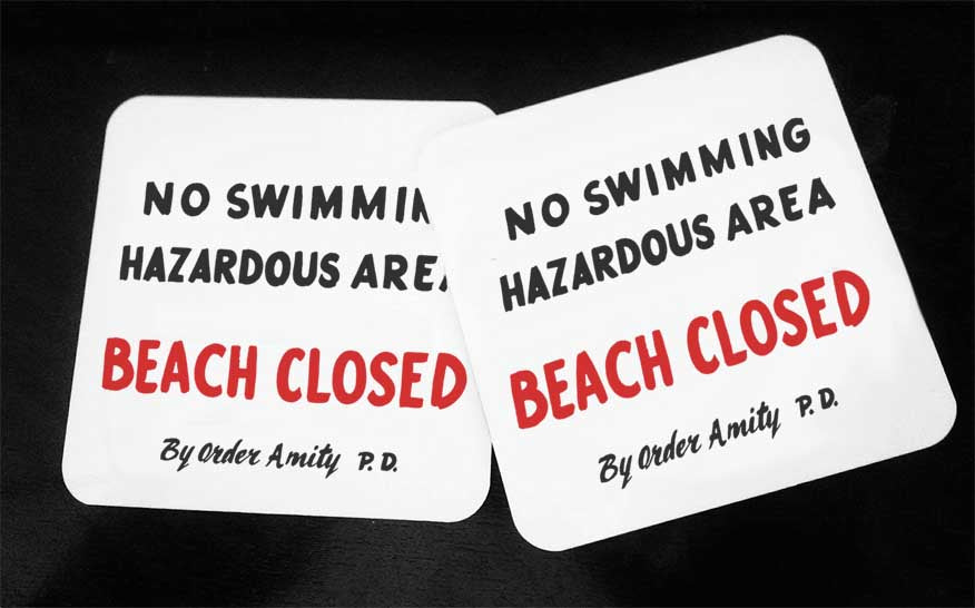 Amity Island No Swimming Sign - Hardwood Coasters - ByCandlelight27