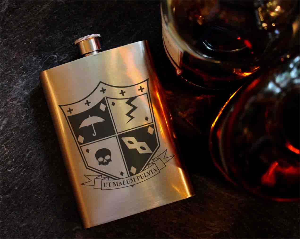 f8f7e4753 Umbrella Academy Crest 8oz Hip Flask, Drinking Flask – ByCandlelight27