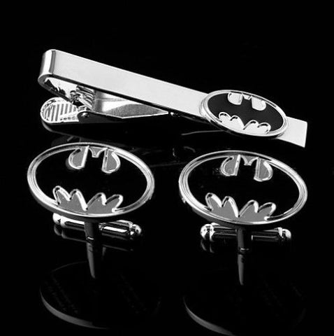 Black and silver Batman cufflink and tie clip set