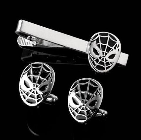 Black and silver Spiderman cufflink and tie clip set