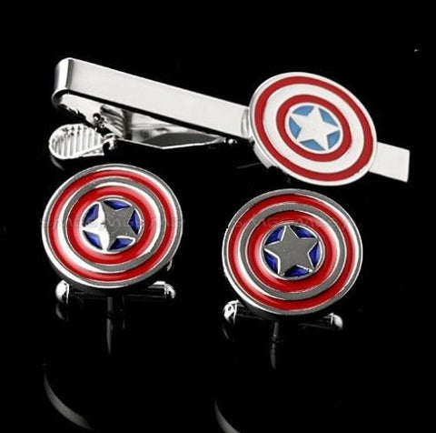 Captain America tie clip and cufflink set