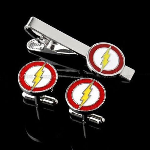 Flash cufflink set and tie clip set