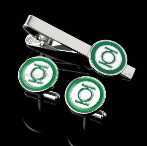 Green Lantern logo tie clip and cufflink set