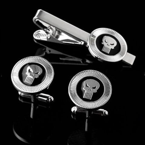 Punisher logo tie clip and cufflink set