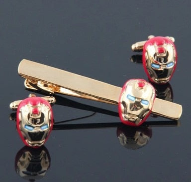 Colour Ironman tie clip and cufflink set