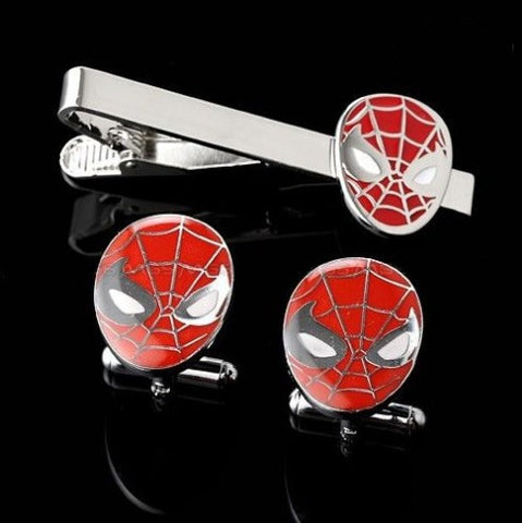 Colour Spiderman cufflink and tie clip