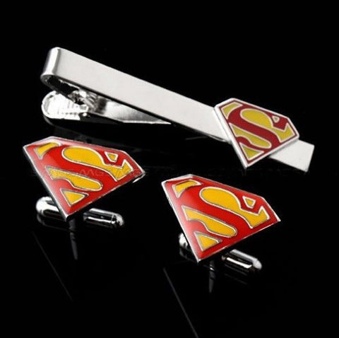Colour superman tie clip and cufflink set