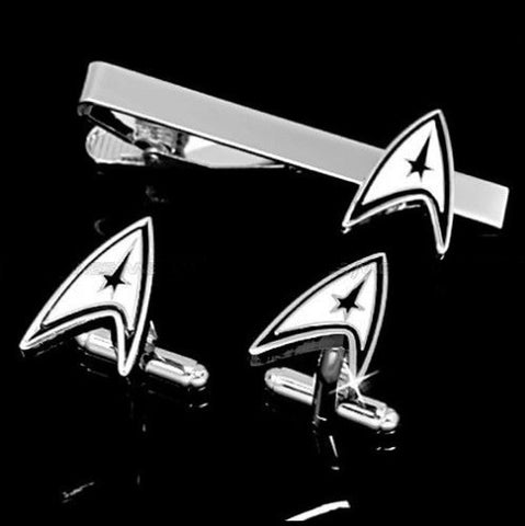 Star trek cufflink and tie clip set