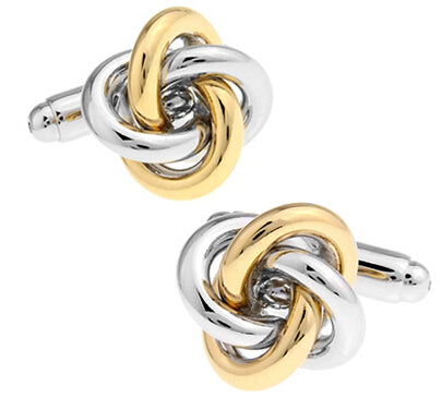 Luxury gold and silver knot cufflinks