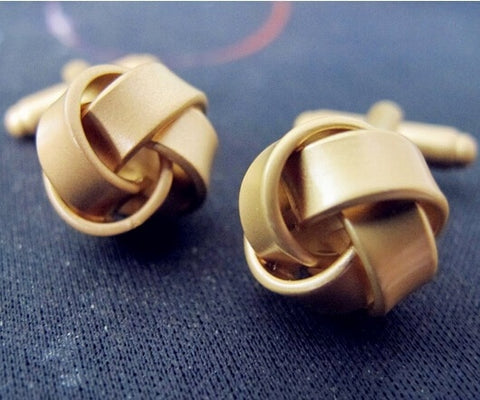 Gold ribbon knot cufflinks