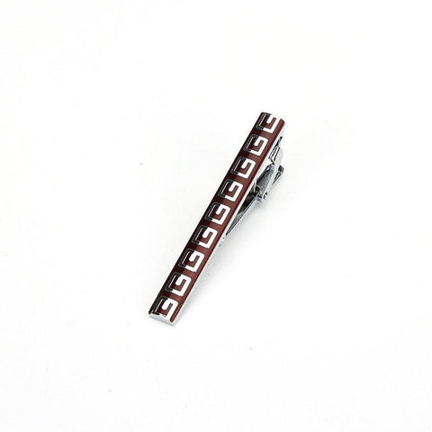 polished red and silver pattered tie clip