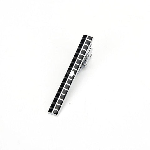 Black and silver square pattered tie clip