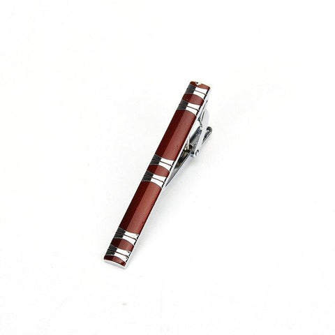 Red tie clip with silver detail