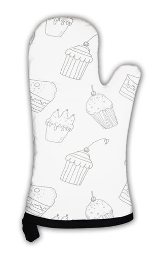 Oven Mitt, Sweet Cakes Silhouettes