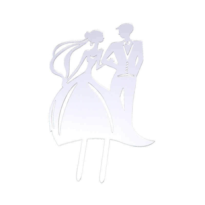 Acrylic Wedding Cake Topper Bride and Groom Cake Picks (Silver)