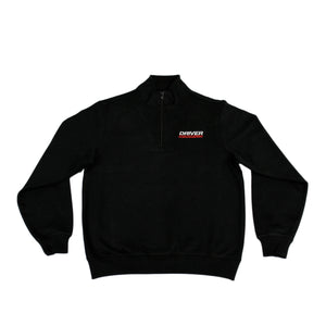 Driver Motorsports Embroidered 1/4 Zip Pullover Sweatshirt in Black