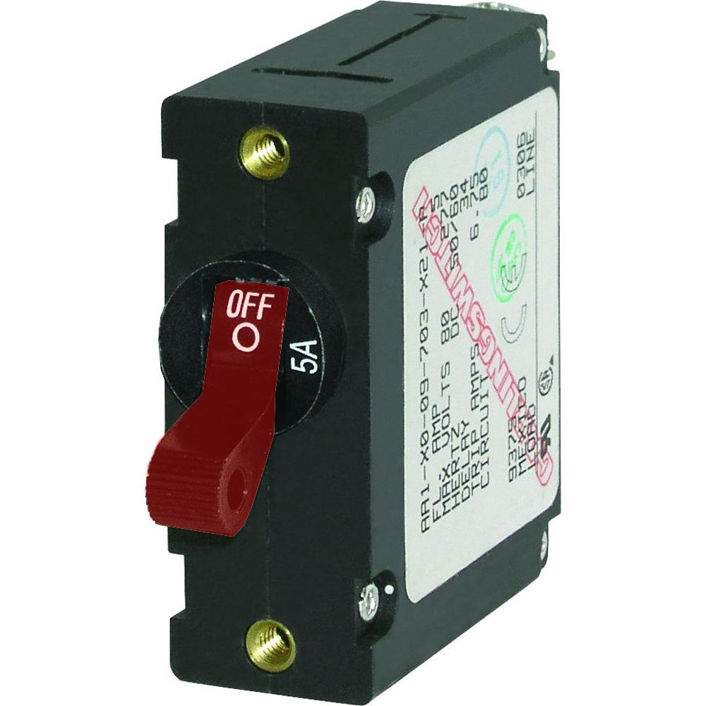 Blue Sea 7201 AC-DC Single Pole Magnetic World Circuit Breaker  -  5 AMP