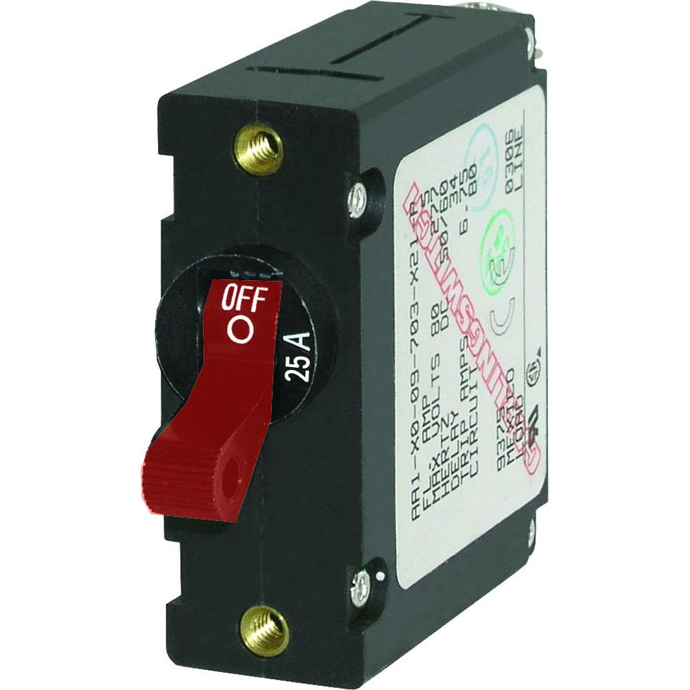 Blue Sea 7217 AC - DC Single Pole Magnetic World Circuit Breaker  -  25 Amp Red