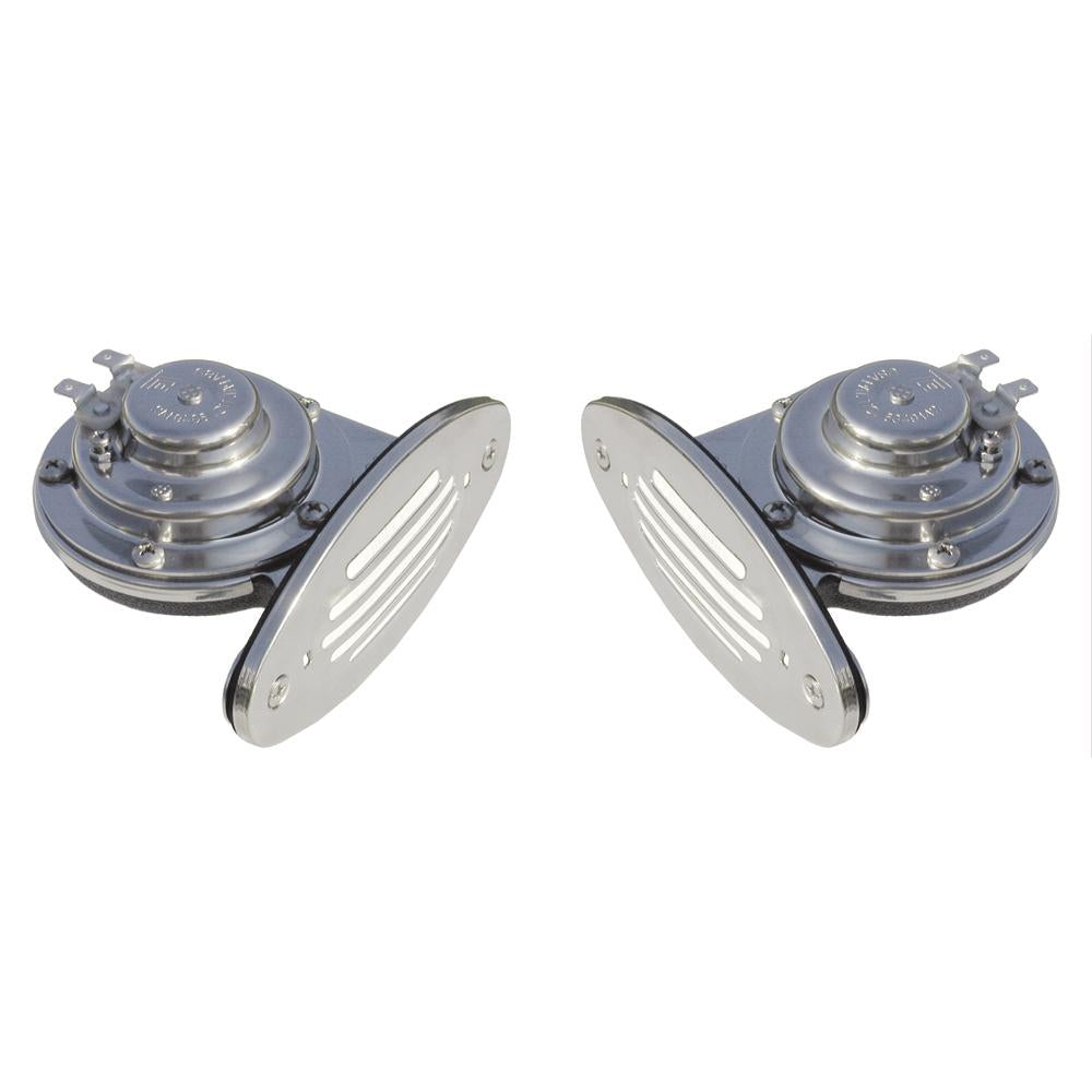 Ongaro Mini Dual Drop-In Horn w-SS Grills High & Low Pitch