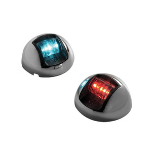 Attwood 3500 Series 2-Mile LED Vertical Mount, Bi-Color Red-Green Combo Sidelight- Pair - 12V - Stainless Steel Housing