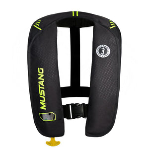 Mustang MIT 100 Inflatable Manual PFD - Black-Flourescent Yellow-Green