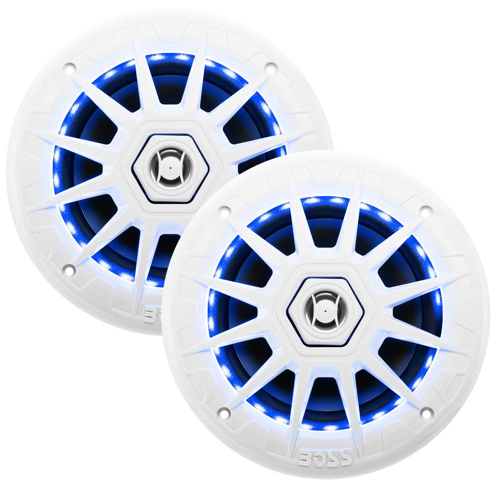 Boss Audio MRGB65 Coaxial Marine Speakers w-RGB LED Lights - 6.5