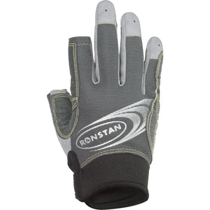 Ronstan Sticky Race Gloves w-3 FUll & 2 Cut Fingers - Grey - Medium
