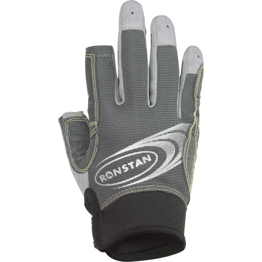 Ronstan Sticky Race Gloves w-3 Full & 2 Cut Fingers - Grey - Large