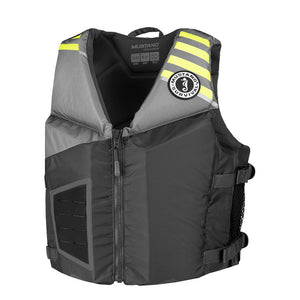 Mustang Rev Young Adult Foam Vest - Gray-Light Gray-Fluroescent Yellow