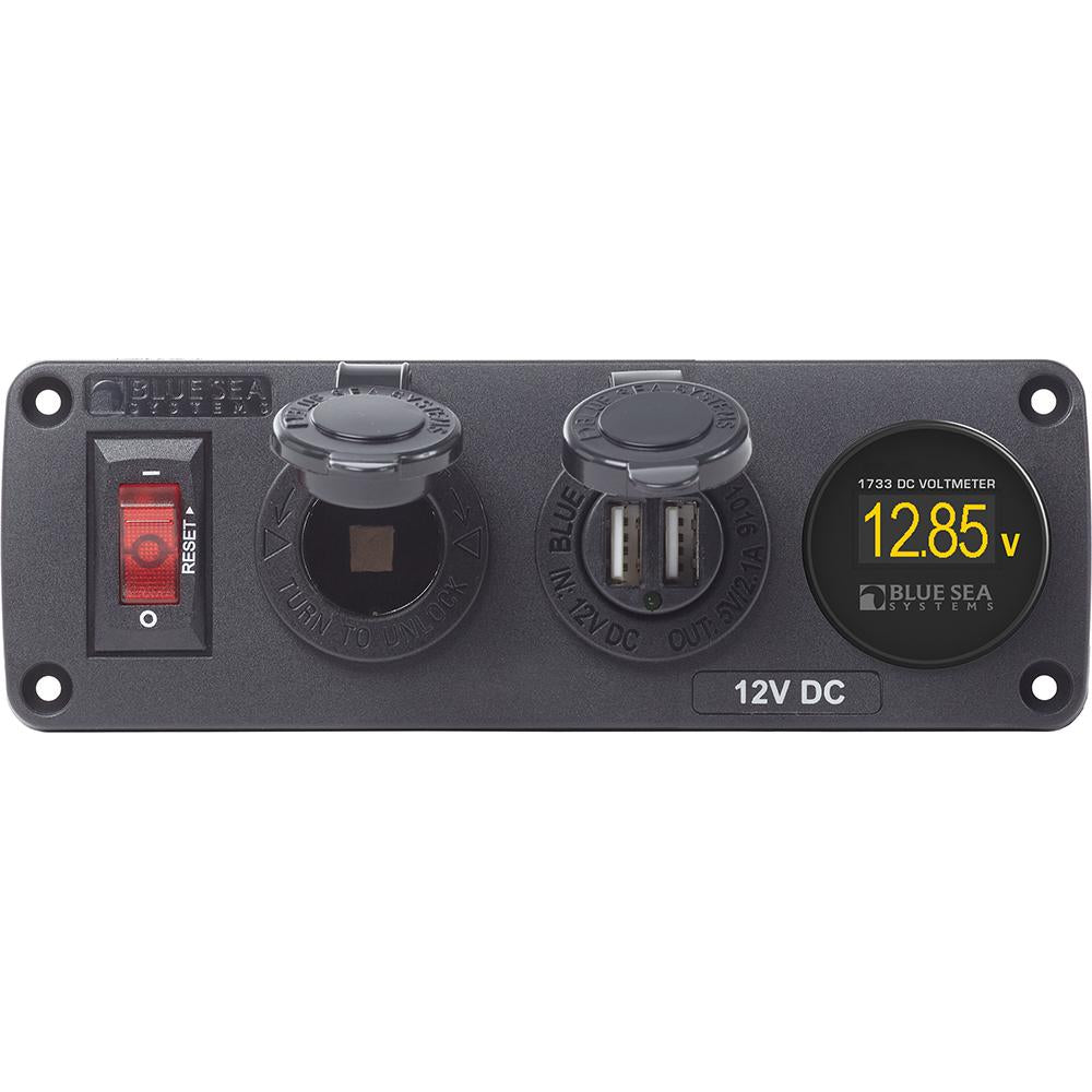 Blue Sea 4356 BelowDeck™ Panel - 15A Circuit Breaker, 12V Socket, 2.1A Dual USB Charger, Mini Voltmeter