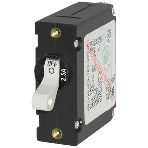 Blue Sea 7917 A-Series White Toggle Circuit Breaker - Single Pole 2.5A