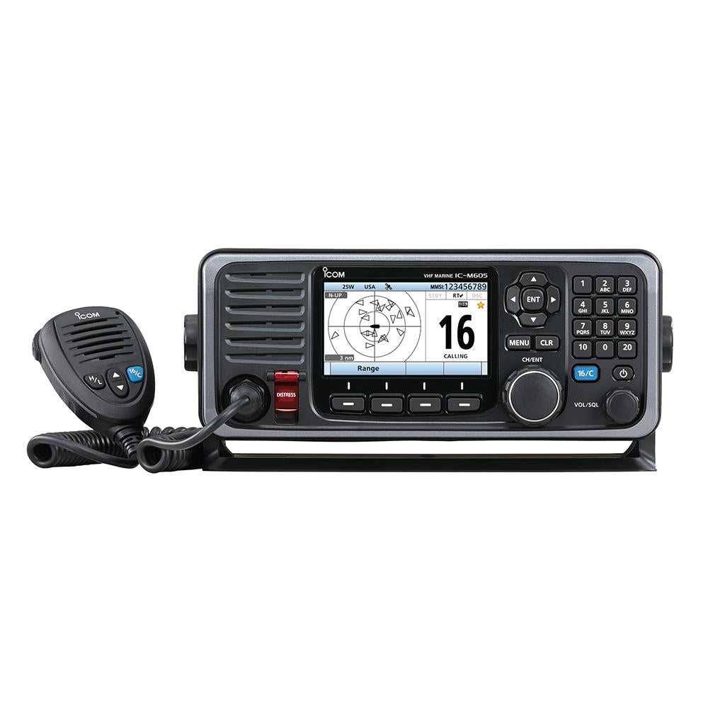 Icom M605 Fixed Mount 25W VHF w-Color Display, AIS & Rear Mic Connector