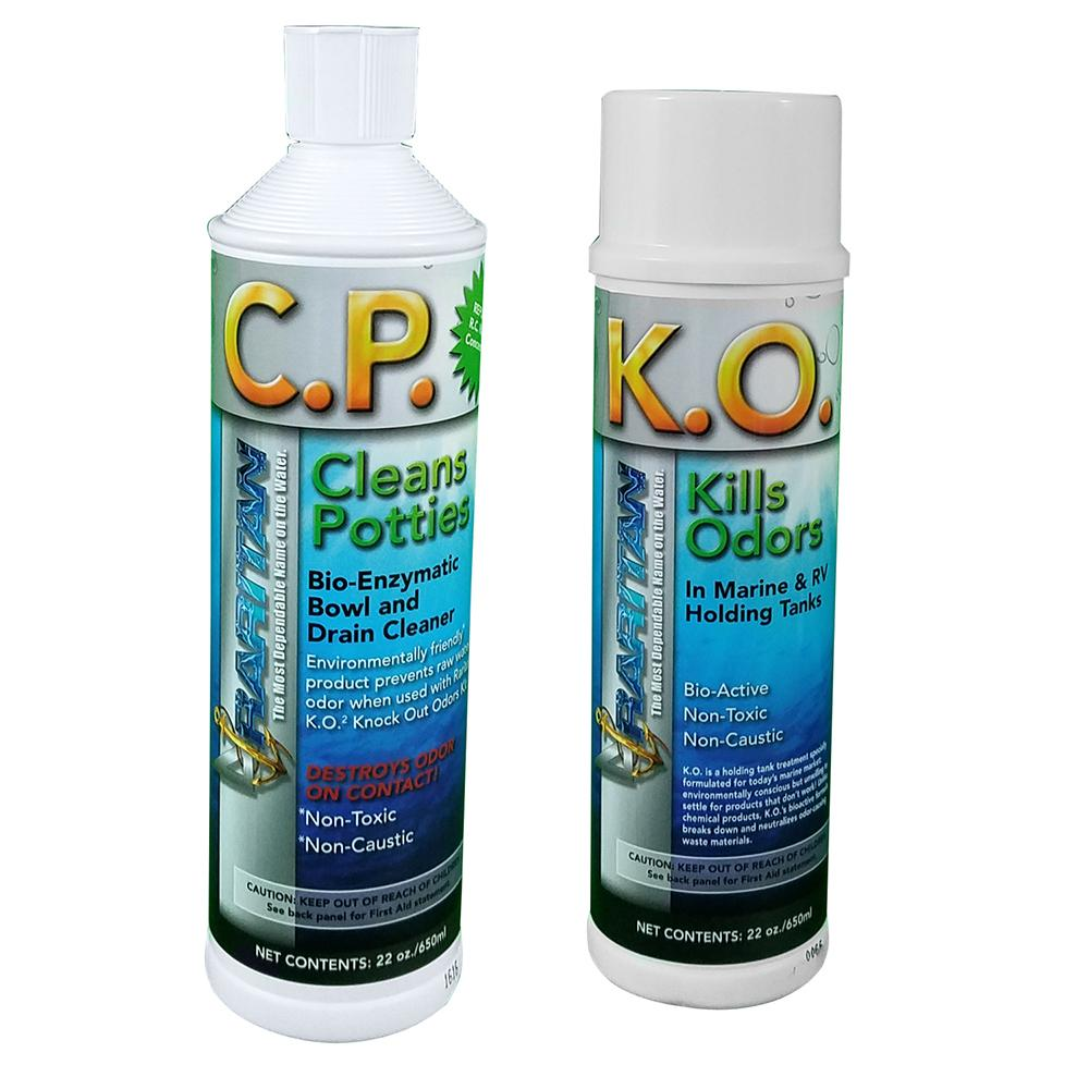 Raritan Potty Pack w-K.O. Kills Odors & C.P. Cleans Potties - 1 of Each - 22oz Bottles