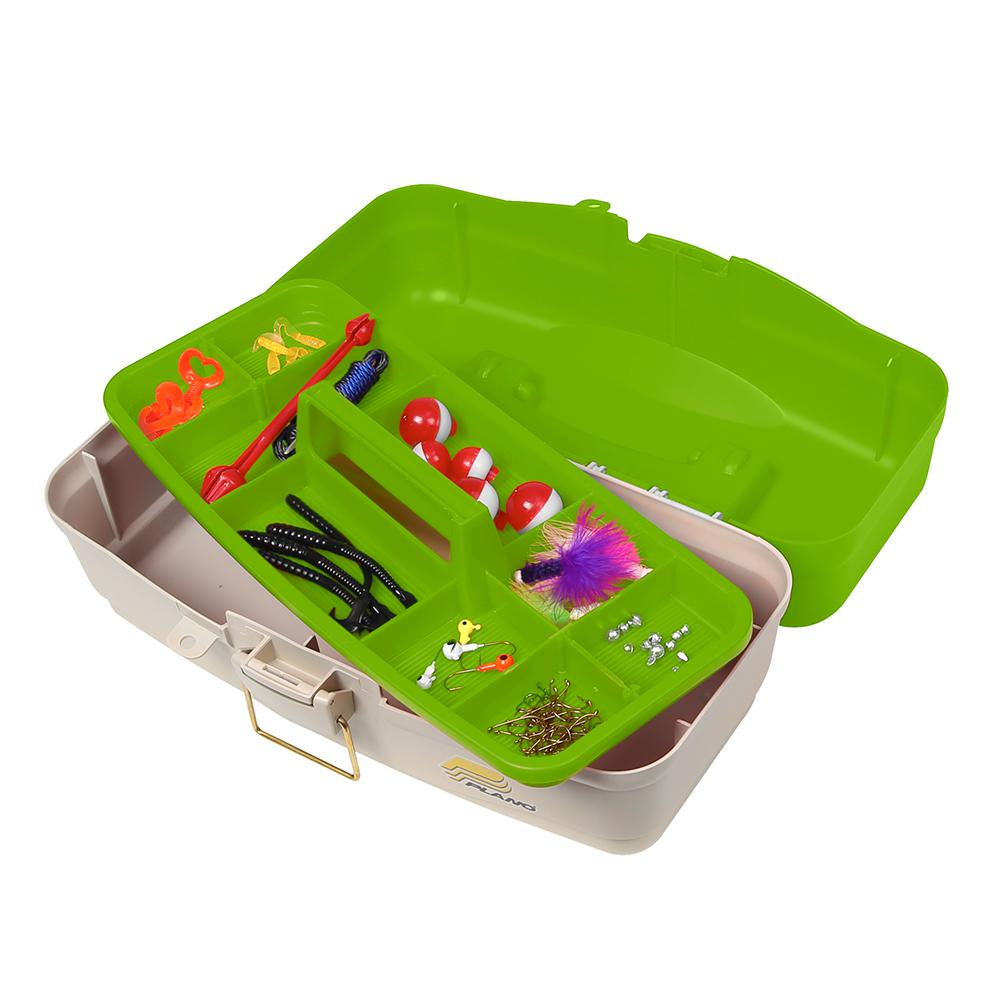 Plano Ready Set Fish On-Tray Tackle Box - Green-Tan