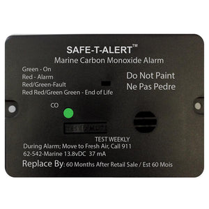 Safe-T-Alert 62 Series Carbon Monoxide Alarm w-Relay - 12V - 62-542-R-Marine - Flush Mount - Black
