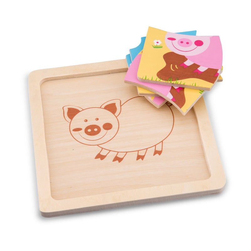 New Classic Toys Ξύλινο Mini Puzzle Pig