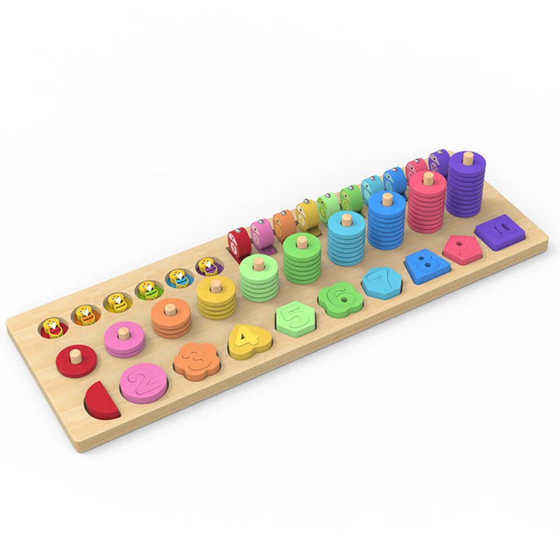 MWSJ 4 in 1 Wooden Rainbow Stacking Fishing Number Puzzle Montessori